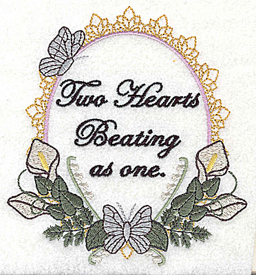 Embroidery Design: Two Hearts Wedding design large with text 4.58w X 4.97h
