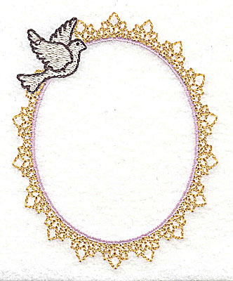Embroidery Design: Wedding frame with dove small 2.96w X 3.65h