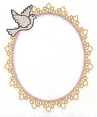 Embroidery Design: Wedding frame with dove large 3.84w X 4.74h