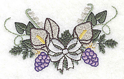Embroidery Design: Calla Lily Wedding bouquet with bow 3.51w X 2.17h