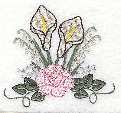 Embroidery Design: Calla Lily and Rose Wedding bouquet 3.29w X 3.01h