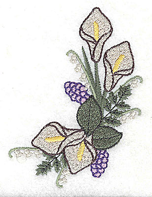 Embroidery Design: Calla Lily Lilac Wedding bouqet 3.01w X 3.74h