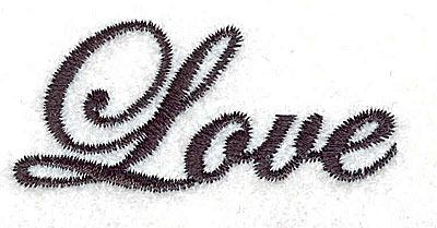 Embroidery Design: Love text 2.25w X 2.03h