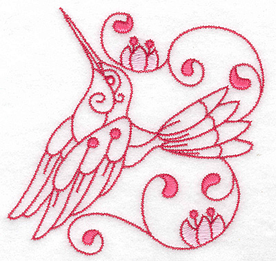 Embroidery Design: Hummingbird F large 4.99w X 4.86h