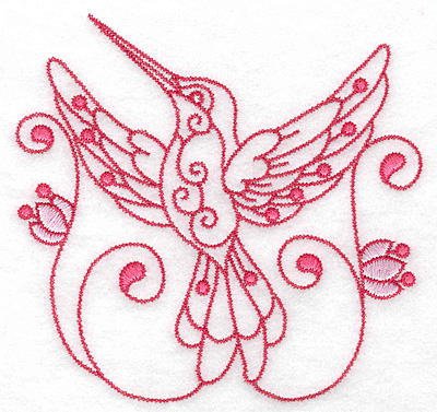 Embroidery Design: Hummingbird J large 4.99w X 4.77h