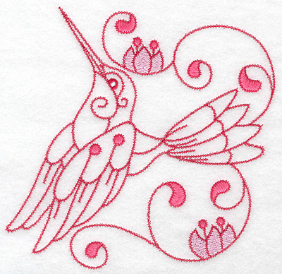 Embroidery Design: Hummingbird E extra large 7.04w X 6.85h