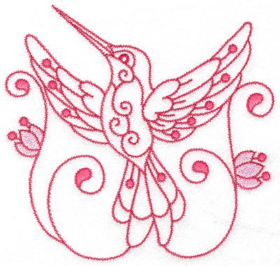 Embroidery Design: Hummingbird J extra large 7.04w X 6.73h