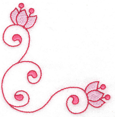 Embroidery Design: Floral corner swirl3.90w X 3.89h