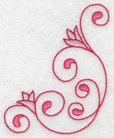 Embroidery Design: Floral swirls 3.05w X 3.87h