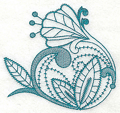Embroidery Design: Stylized flower large 4.63w X 4.42h