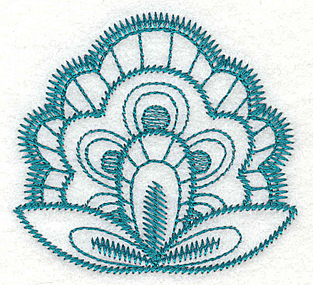Embroidery Design: Floral fan 3.04w X 2.83h