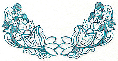 Embroidery Design: Floral leaves and swirls large 6.94w X 3.45h