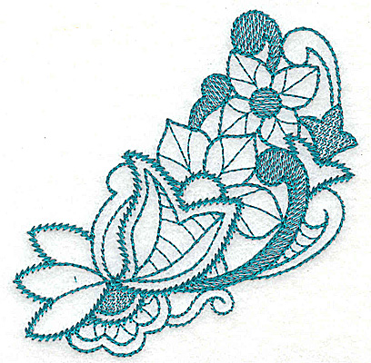 Embroidery Design: Floral leaves and swirls 3.58w X 3.52h
