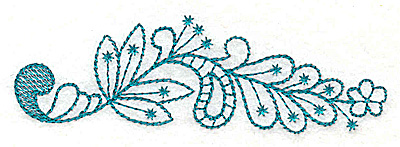 Embroidery Design: Floral leaf with swirl 3.86w X 1.25h