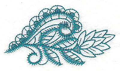 Embroidery Design: Swirls and leaves   3.81w X 2.12h