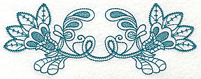 Embroidery Design: Double flower with leaves large 6.96w X 2.60h