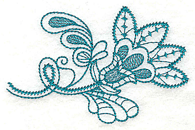 Embroidery Design: Single flower leaves and swirls 3.83w X 2.48h