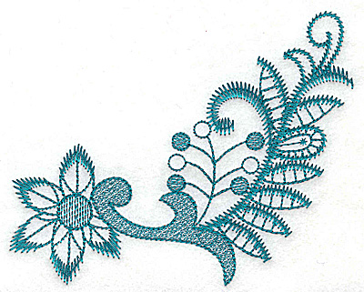 Embroidery Design: Stylized flower and leaves large 4.94w X 4.00h