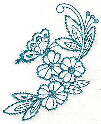 Embroidery Design: Flowers and butterfly large 4.46w X 4.98h