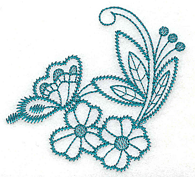 Embroidery Design: Flowers and butterfly    3.52w X 3.29h