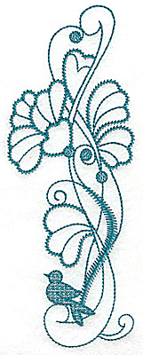 Embroidery Design: Flowers bird and swirls large 2.61w X 6.97h