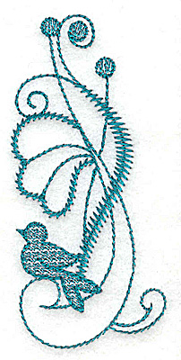 Embroidery Design: Flower and bird 1.62w X 3.54h