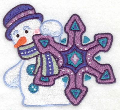 Embroidery Design: Snowman with snowflake large 4.94w X 4.51h