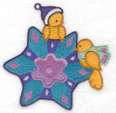 Embroidery Design: Birds on snowflake small 3.87w X 3.84h