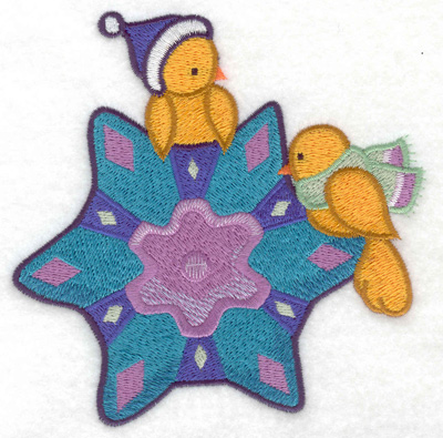 Embroidery Design: Birds on snowflake large 4.96w X 4.91h