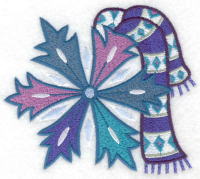 Embroidery Design: Scarf on snowflake large 4.93w X 4.36h