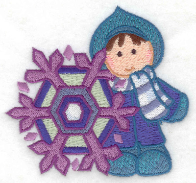 Embroidery Design: Child with snowflake small 3.86w X 3.61h