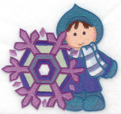 Embroidery Design: Child with snowflake large 4.94w X 4.62h