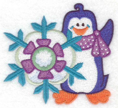 Embroidery Design: Penguin with snowflake small 3.86w X 3.54h