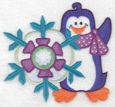 Embroidery Design: Penguin with snowflake large 4.93w X 4.52h
