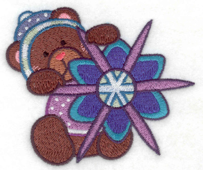 Embroidery Design: Teddy Bear with snowflake small 3.74w X 3.19h