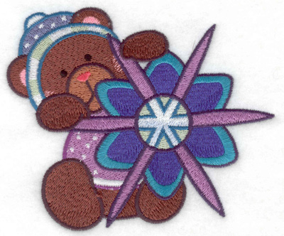 Embroidery Design: Teddy Bear with snowflake large 4.86w X 4.15h