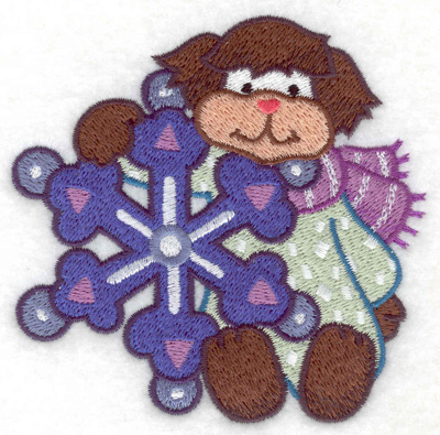 Embroidery Design: Dog with snowflake small 3.86w X 3.80h