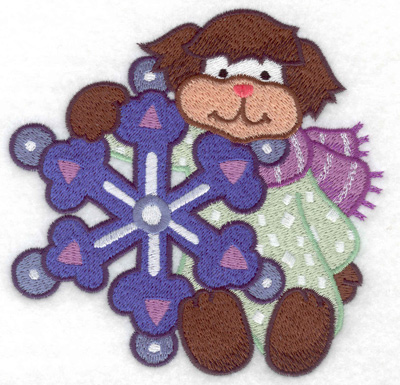 Embroidery Design: Dog with snowflake large 4.94w X 4.86h