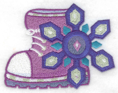 Embroidery Design: Winter Boot with snowflake small 3.79w X 2.94h
