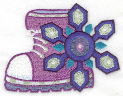 Embroidery Design: Winter Boot with snowflake large 4.92w X 3.81h