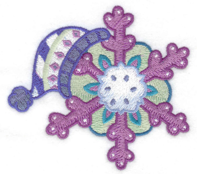 Embroidery Design: Winter hat with snowflake small 3.84w X 3.46h