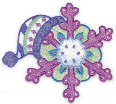 Embroidery Design: Winter hat with snowflake large 4.95w X 4.47h