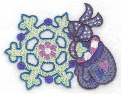 Embroidery Design: Mittens and snowflake small 3.88w X 3.07h