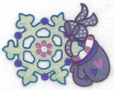 Embroidery Design: Mittens and snowflake large 4.96w X 3.93h
