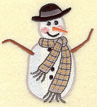Embroidery Design: Snowman short (large) 3.40w X 3.73h
