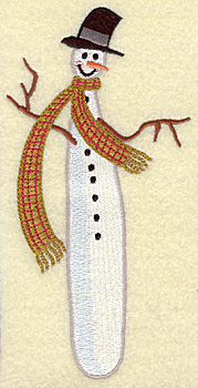 Embroidery Design: Snowman skinny (large) 3.43w X 6.90h