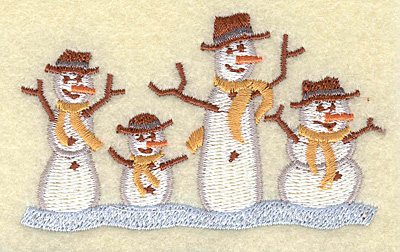 Embroidery Design: Snowmen in a row 3.47w X 2.09h
