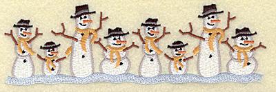 Embroidery Design: Snowmen border 6.77w X 2.10h