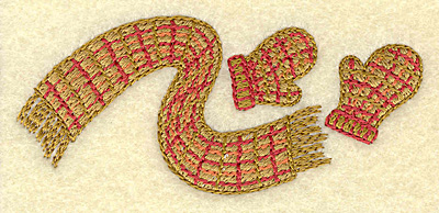 Embroidery Design: Scarf and mittens A 3.50w X 1.52h