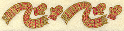 Embroidery Design: Scarf and mittens pair A 6.88w X 1.52h